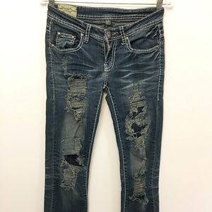 Machine Distressed Denim Stretch Skinny Jeans